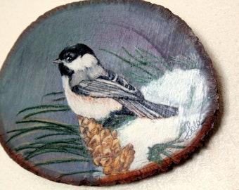 Original Painting of Black Capped Chickadee on Native Montana Larch Wood Slice