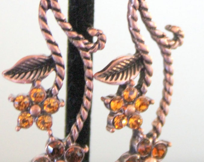 Copper Vines with Amber and Smokey Topaz Crystals Earrings