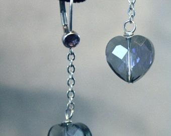 Blue Crystal Heart Lever Back Earrings