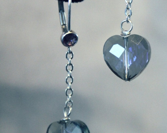 Blue Crystal Heart Lever Back Earrings