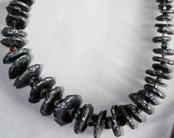Black Hawaiian Lava Rock with Czech Glass Beads Necklace