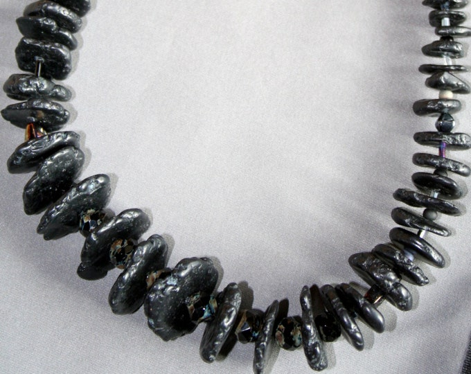 Black Hawaiian Lava Rock with Czech Glass Beads Necklace