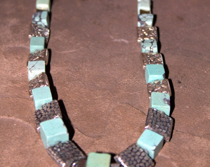 Nacozari Raw Turquoise Cubes and Bali Silver Necklace