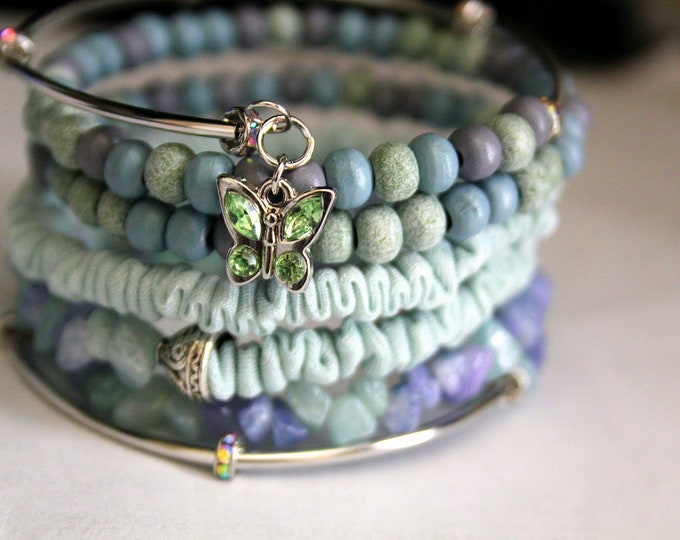 Seafoam, Lavender and Blue Wood and Quartz Chip Memory Wire Wrist Wrap Cuff Bracelet