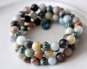Mixed Stone, Amazonite and Verde Gris Brass Stackable Wrist Wrap Cuff Bracelet