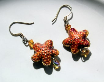 Enamel Starfish Earrings