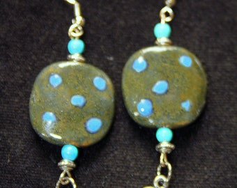 Gray Green Kazuri Bead Boho Chic Earrings with Turquoise and Bali Silver Beads