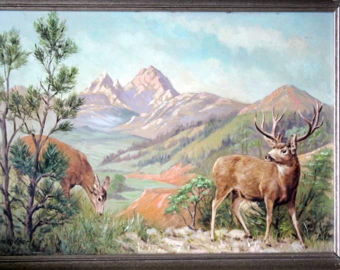 H. Wegener Original German Antique Oil Painting - Stag and Doe - 1930's-40's Germany