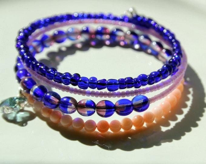 Cobalt Blue and Pink Bead Wrist Wrap Stackable Cuff Bracelet
