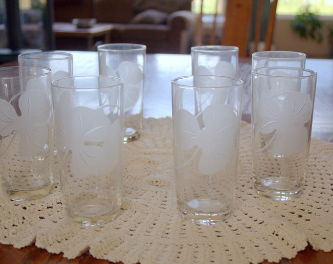 Vintage Etched Floral Tumblers Set of 8