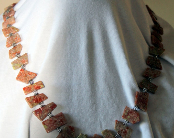 Geometric Shaped Long Unakite Necklace