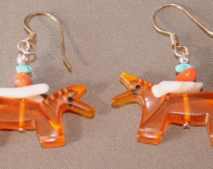 Santa Fe Amber Horse Earrings