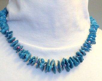 Turquoise Colored Hawaiian Lava Rock with Czech Glass Beads and Mother of Pearl Clasp Necklace