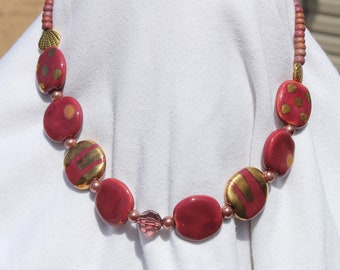 Rose and Gold Kazuri Bead Necklace