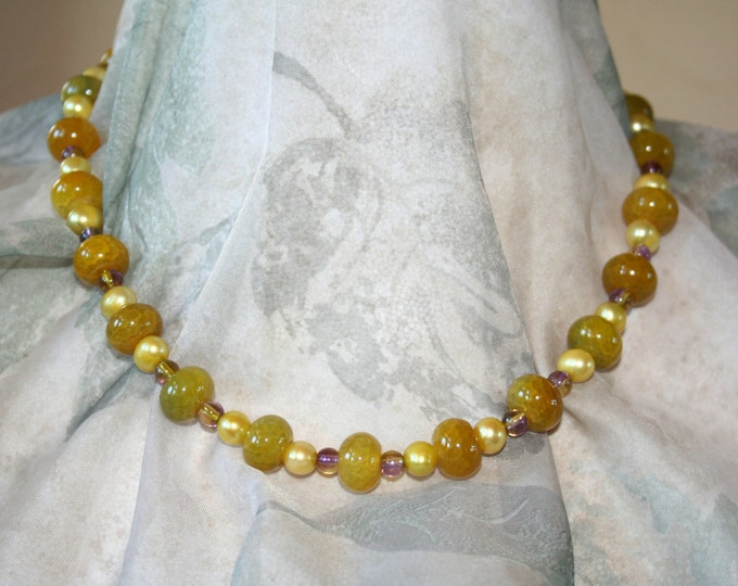 Chartreuse Cracked Agate Beads with Violet and Chartreuse Czech Glass and Buttercream Potato Pearl Necklace