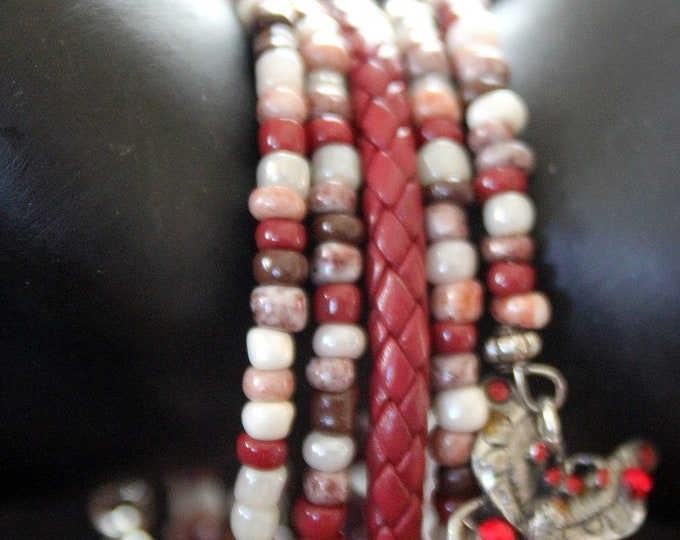 Red Leather and Red Mix Seed Bead Memory Wire Stackable Cuff Bracelet