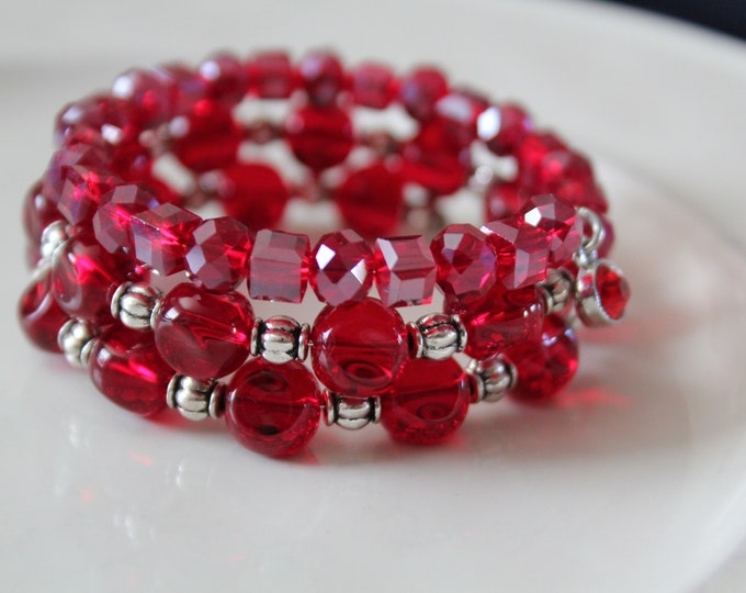Ruby Red Glass and Silver Stackable Wrist Wrap Memory Wire Cuff