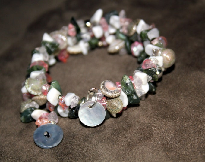 Shell, Beach Glass and Stone Chips Stacking Wrist Wrap Cuff