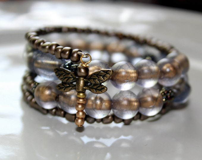 Blue Gray and Bronze Beads with Dragonfly Wire Wrap Stackable Cuff Bracelet