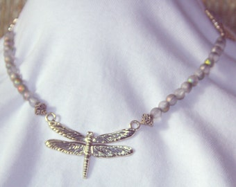Silver Dragonfly and Aurora Borealis Bead Necklace