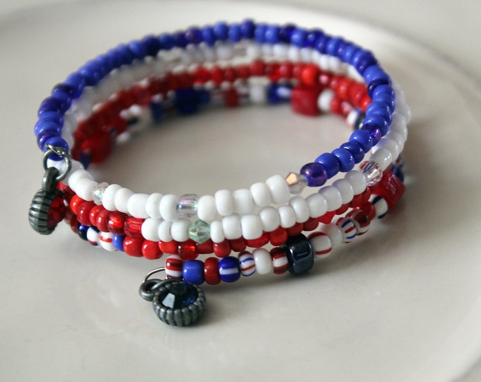 Red White and Blue Seed Bead Stackable Wrist Wrap Cuff Bracelet