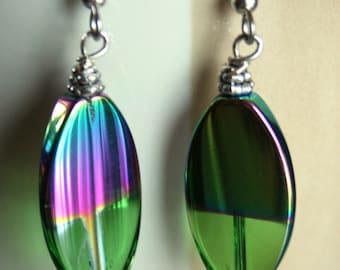Aurora Borealis Handmade Glass Earrings
