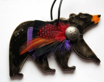 Hand Painted Enamel Bear Ornament or Plaque on Wood with Several Color Options