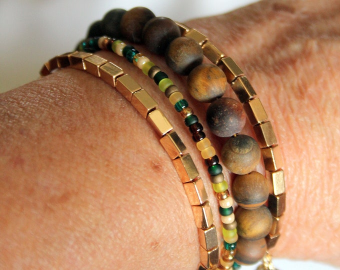 Cat's Eye Agate and Brass Bead Wrist Wrap Stackable Cuff Bracelet