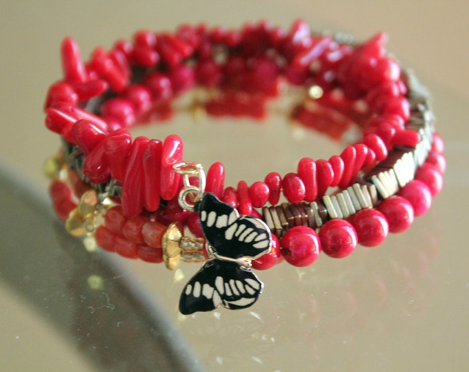 Red Coral Stacking Wrist Wrap Bracelet