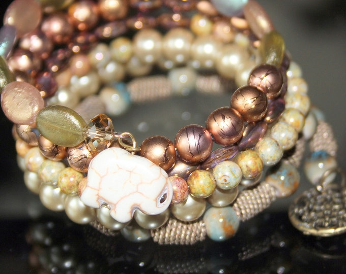 Pearl and Czech bead Wrist Cuff Wrap Bracelet with White Elephant Charm