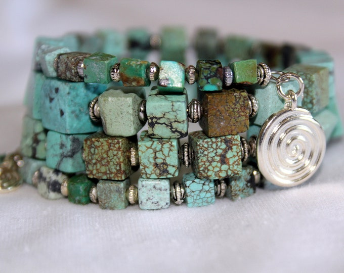 Raw Turquoise Square Nuggets with Bali Silver Beads Wrist Wrap Stackable Cuff Bracelet