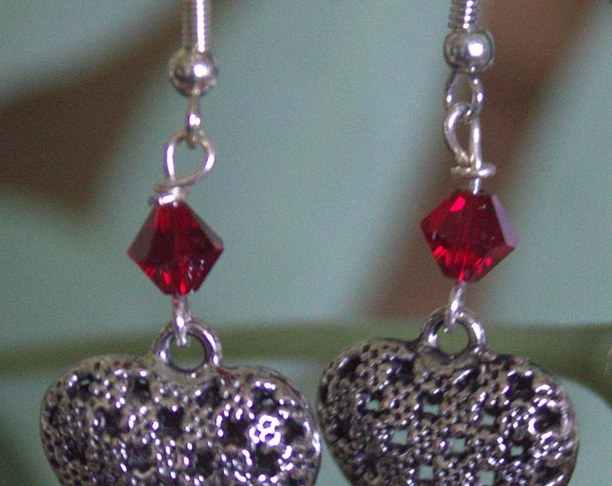 Silver Pie Crust Heart Earrings