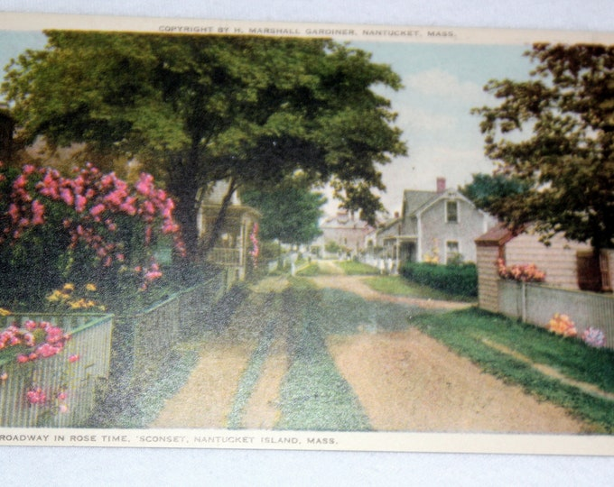 H Marshall Gardiner Antique Linen Unused Postcard Circa 1935 Broadway in Rose Time, Nantucket Island, Mass
