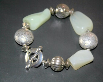 Chunky Pale Green Jade and Bali Sterling Silver Bracelet