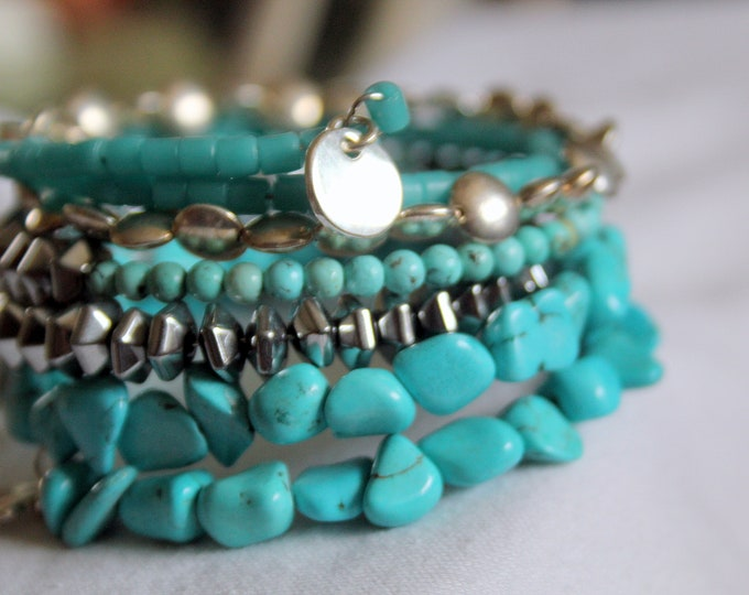 Turquoise and Bali Silver Wrist Wrap Stackable Cuff Bracelet