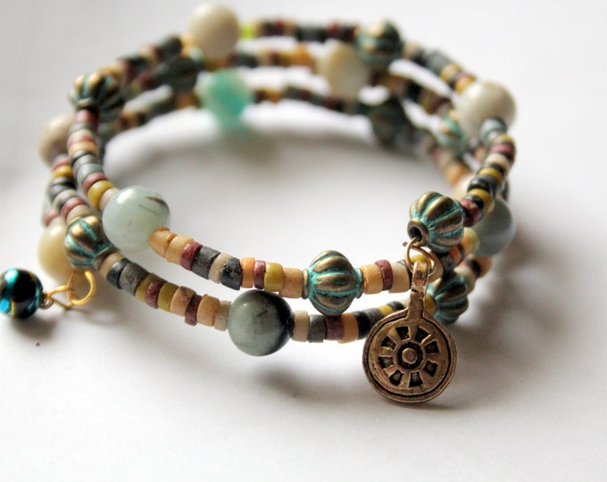 Aventurine Stone, Faience and Brass Bead Wrapped Cuff Stackable Bracelet