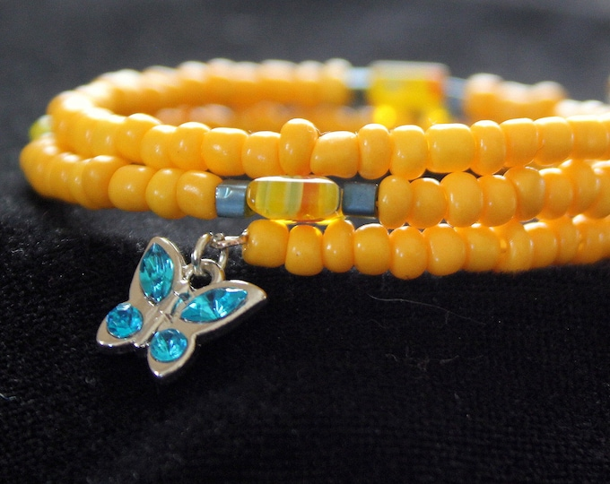 Yellow Seed Bead Memory Wire Wrap Cuff Stackable Bracelet