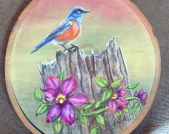 Bluebird With Clematis Painting on Birch Wood Slice