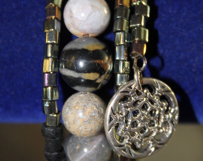 Jasper Round Stone  and Black Shell Memory Wire Wrist Wrap Cuff Bracelet