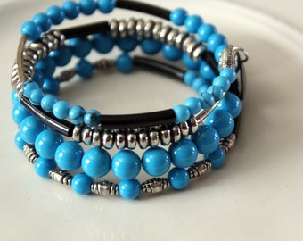 Turquoise(Simulated) and Silver Stackable Wrist Wrap Cuff Bracelet
