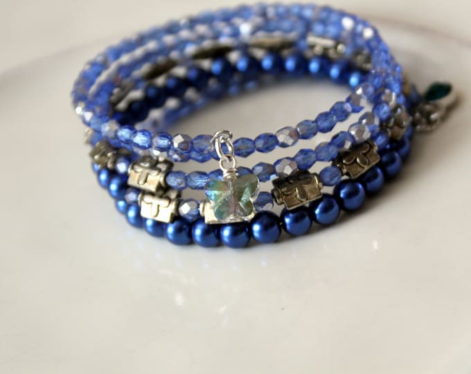 Blue Faceted Czech Glass Bead and Bali Silver Stackable Wrist Wrap Cuff Bracelet