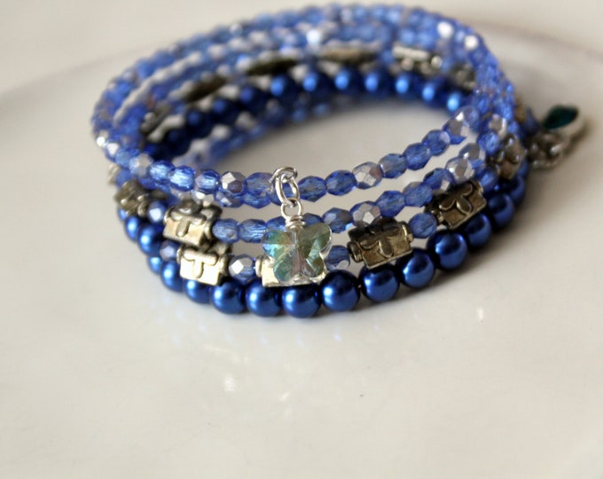 Blue Czech Glass Bead and Bali Silver Stackable Wrist Wrap Cuff Bracelet