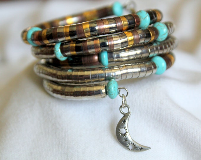 Recycled India Brass, Copper, Silver and Turquoise Rondelle Wrist Wrap Cuff Stackable Bracelet