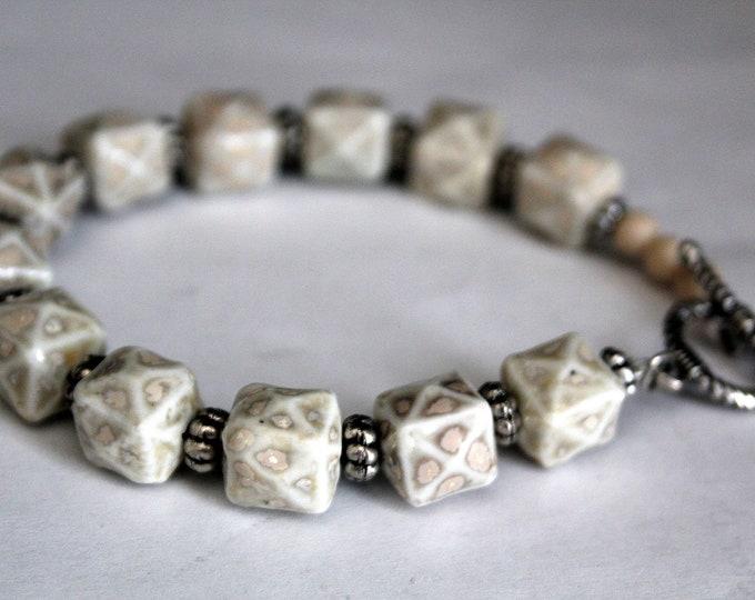 Ecru and Beige Ceramic Bead Bracelet