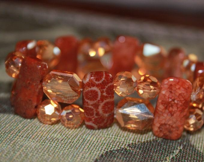 Orange and Rust Fossilized Coral Jasper and Czech Glass Stretch Bracelet