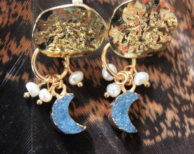 Blue Moon Boho Post Earrings