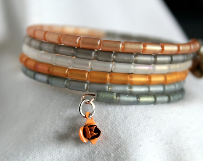 Czech Glass Tube Bead Pastel Wrist Wrap Cuff Stackable Bracelet