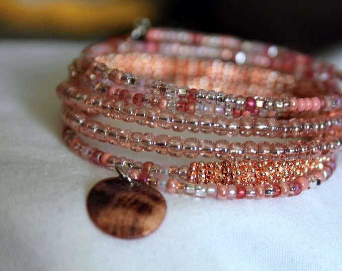 Rose Gold and Pink Colored Bead Wrist Wrap Cuff Stackable Bracelet