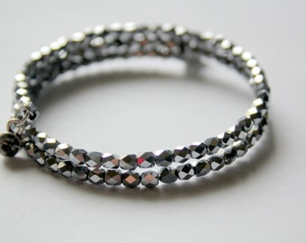 Tiny Silver Faceted Seed Bead Stackable Wrist Wrap Cuff Bracelet