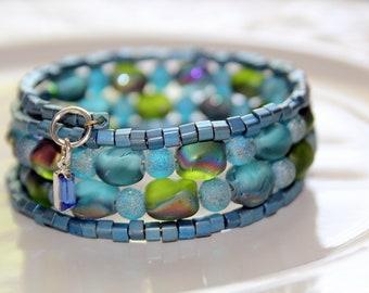 Blue and Green Czech Glass and Blue Raku Beaded Wrist Wrap Stackable Cuff